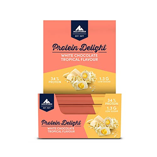 Multipower Protein Delight Eiweißriegel – 18 x 35 g Protein Riegel Box (630 g) – Leckerer Energieriegel – White Chocolate Tropical