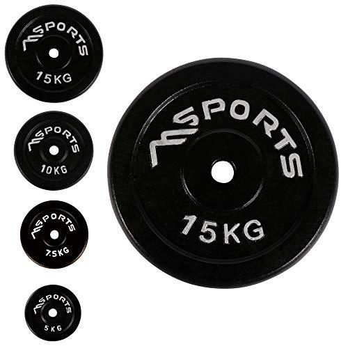 MSPORTS Hantelscheiben Paar Professional aus 100% Gusseisen 5-20 kg Hantel (2 x 15 kg – Schwarz)