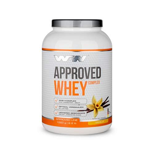 WFN Approved Whey – Vanille – 1.000g Dose – Eiweißpulver mit Laktase – Sehr gut lösliches Molkenprotein – 33 Portionen – Made in Germany