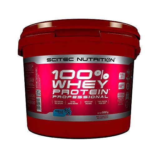 Scitec Nutrition 100% Whey Protein Professional mit extra zusätzlichen Aminosäuren und Verdauungsenzymen, 5 kg, Vanille