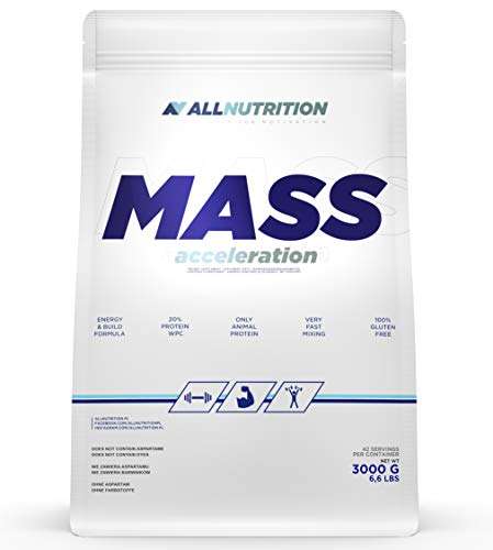 ALLNUTRITION Mass Gainer, Nutrition Eiweißpulver und Kohlenhydrate Pulver, Pulver mit Protein für Muskelaufbau, Energy, Fitness   MASS ACCELERATION White Chocolate 3000g