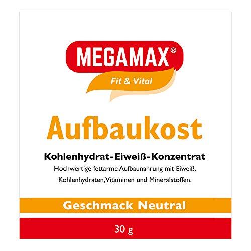 MEGAMAX Aufbaukost Neutral 30 g- Ideal zur Kräftigung und bei Untergewicht. Proteinpulver zur Zubereitung eines fettarmen Kohlenhydrat-Eiweiß-Getränkes für Muskelmasse u. Muskelaufbau