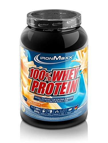 IronMaxx 100% Whey Protein – 900g Dose – 18 Portionen – Orange Maracuja – Hochwertiges Eiweißpulver für Proteinshake auf Wasserbasis – 36 leckere Geschmäcker – Designed in Germany