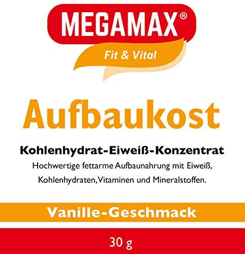 MEGAMAX Aufbaukost Vanille 30g- Ideal zur Kräftigung und bei Untergewicht. Proteinpulver zur Zubereitung eines fettarmen Kohlenhydrat-Eiweiß-Getränkes für Muskelmasse & Muskelaufbau Gewichtszunahme