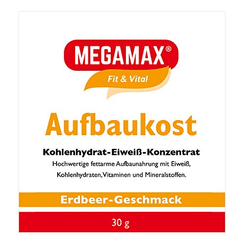 MEGAMAX Aufbaukost Erdbeere 30 g- Ideal zur Kräftigung und bei Untergewicht. Proteinpulver zur Zubereitung eines fettarmen Kohlenhydrat-Eiweiß-Getränkes für Muskelmasse u. Muskelaufbau