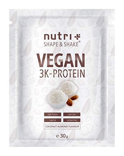 PROTEIN VEGAN Kokosnuss Mandel 30g Probe – 83,8% Eiweiß – Shape & Shake ® 3k Probiergröße – Veganes Eiweißpulver ohne Laktose – Kokos Proteinpulver