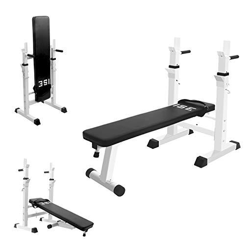 ISE Fitness Hantelbank Drückerbank Trainingsbank mit 5 Stufen Verstellbarer Ablage(91-110cm und Dip-Griffen Fitnessgerät klappbar weiß SY-544-WH