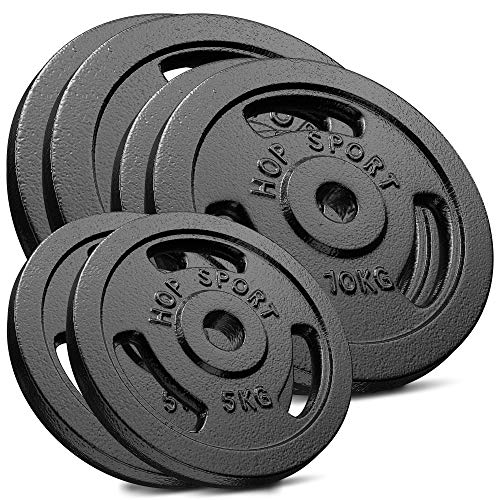 Hop-Sport 60 kg Gusseisen Hantelscheiben-Set – Verschiedene Varianten zur Auswahl – Gewichte mit 30/31 mm Bohrung (2×15 + 2×10 + 2×5)