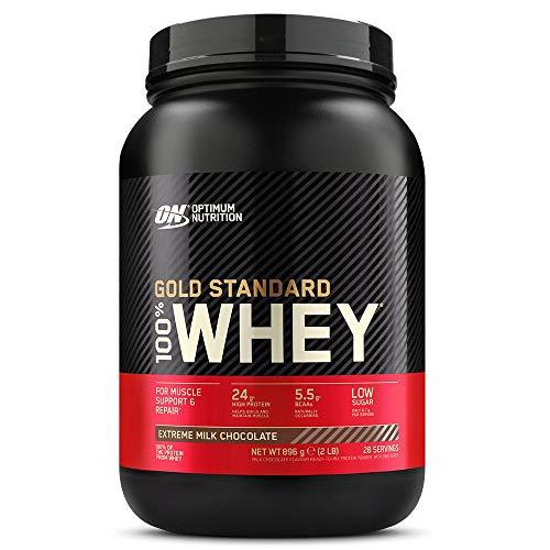 Optimum Nutrition ON Gold Standard Whey Protein Pulver, Eiweißpulver Muskelaufbau mit Glutamin und Aminosäuren, natürlich enthaltene BCAA, Extreme Milk Chocolate, 28 Portionen, 900g