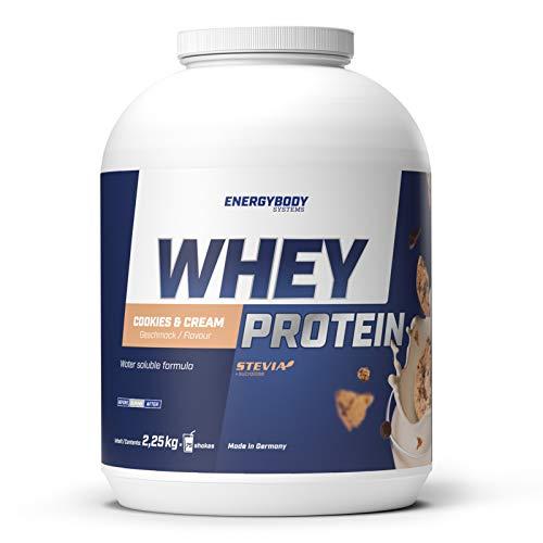 Energybody Whey Protein, Eiweißpulver für Muskelaufbau und Diät, sehr gut löslich, Molkenproteinpulver, 2250 g Dose, 75 Portionen, Cookies & Cream Geschmack