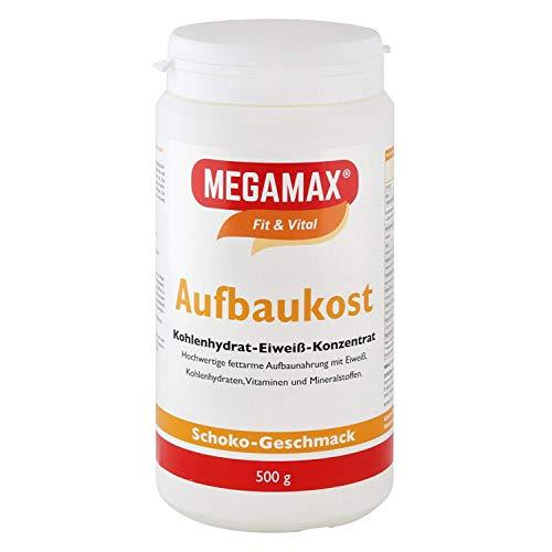 MEGAMAX Aufbaukost Schoko 500g- Ideal zur Kräftigung und bei Untergewicht. Proteinpulver zur Zubereitung eines fettarmen Kohlenhydrat-Eiweiß-Getränkes für Muskelmasse – Muskelaufbau – Gewichtszunahme