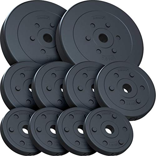 ScSPORTS 30 kg Hantelscheibenset Kunststoff 2×7,5 kg 4×2,5 kg 4×1,25 kg Ø 30 mm