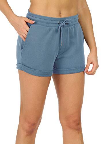 icyzone Damen Sweat Shorts Sport Kurze Hose Laufshorts Jogginghose mit Taschen (S, Dusty Blue)