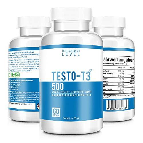 TESTO-T3 500 – HARDCORE BOOSTER – Extrem Hochdosiert – Testo-T3 KUR mit hochwirksamen Wirkstoffen – Beliebt im Bodybuilding, Gym und Muskelaufbau – Motivation und Focus – 60 Kapseln