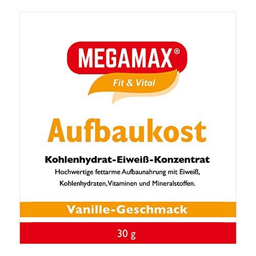 MEGAMAX Aufbaukost Vanille 30g- Ideal zur Kräftigung und bei Untergewicht. Proteinpulver zur Zubereitung eines fettarmen Kohlenhydrat-Eiweiß-Getränkes für Muskelmasse u. Muskelaufbau Gewichtszunahme