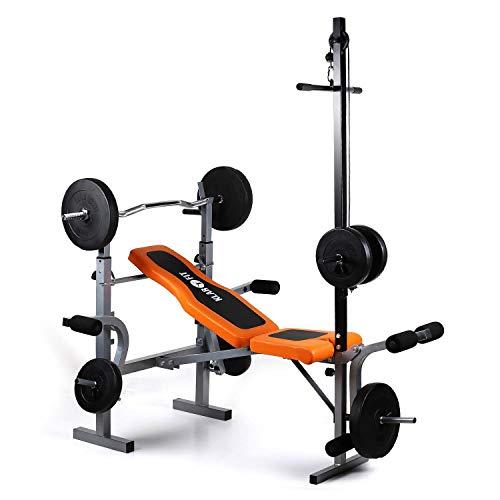Klarfit Ultimate Gym 3500 –Kraftstation, Fitnessstation, Trainingsstation, Arm- und Beincurler, Latissimusturm, Hantelbankablage, gepolsterte Rückenlehne + Sitzfläche, schwarz-orange