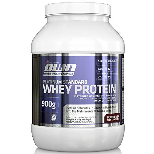 OWN – Platinum Standard Whey Protein Molkenprotein-Ergänzungspräparat zum Muskelaufbau mit Glutamin und Aminosäuren, Schokoladengeschmack, 900g
