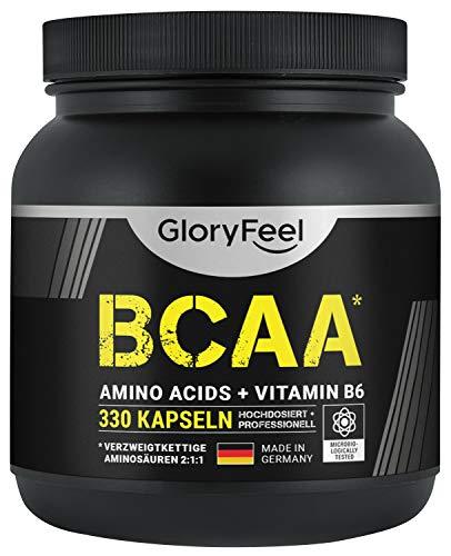 BCAA 330 Kapseln – Der VERGLEICHSSIEGER 2020*- Essentielle Aminosäuren Leucin, Valin und Isoleucin Plus Vitamin B6 – Laborgeprüft und ohne Zusätze hergestellt in Deutschland