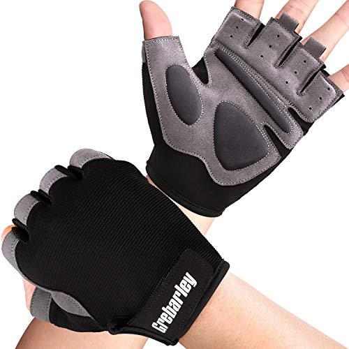 Grebarley Fitness Handschuhe,Trainingshandschuhe für Damen und Herren – Fitness Handschuhe ohne Handgelenkstütze für Krafttraining, Bodybuilding, Kraftsport & Crossfit Training (Schwarz grau, XL)
