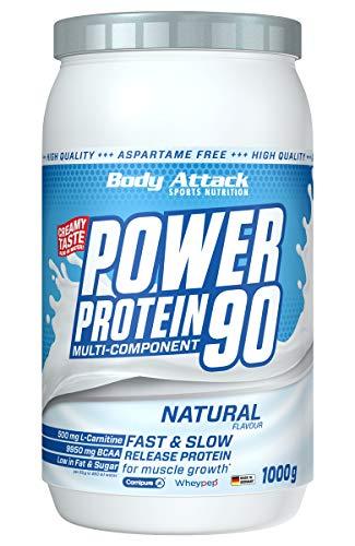 Body Attack Power Protein 90, 5K Eiweißpulver mit Whey-Protein, L-Carnitin und BCAA für Muskelaufbau und Fitness, Made in Germany (Neutral, 1 kg)