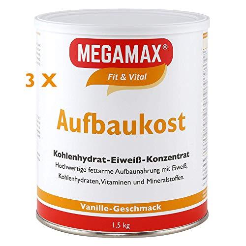 Megamax Aufbaukost Vanille Spar-Set 3×1,5kg zur Kräftigung und bei Untergewicht