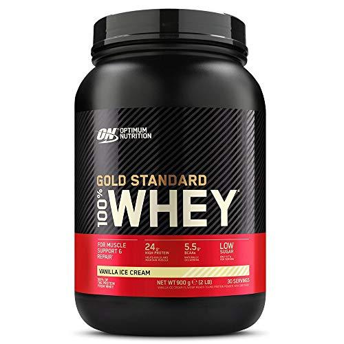 Optimum Nutrition ON Gold Standard Whey Protein Pulver, Eiweißpulver Muskelaufbau mit Glutamin und Aminosäuren, natürlich enthaltene BCAA, Vanilla Ice Cream, 30 Portionen, ca. 900g