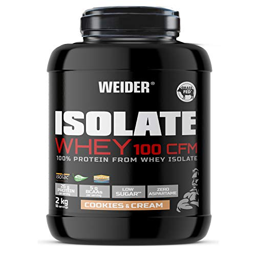 Weider Isolate Whey 100 CFM, hochwertiges Molkenproteinisolat, Cookies & Cream, Proteinpulver, 2 KG