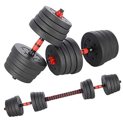 INNE Hantelset + Hantelstange 30KG 2 Hanteln 15 kg Verschiedene Übungsmöglichkeiten, trainiert viele Muskelgruppen