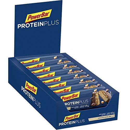 PowerBar Protein Plus 30% Cappuccino-Caramel Crisp 15x55g – High Protein Riegel + Whey und Casein Protein