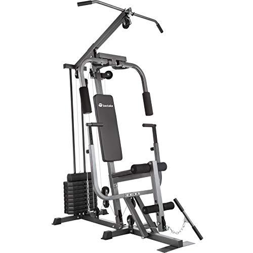 TecTake Kraftstation Fitnessstation Heimtrainer | Butterflymodul | Latzugstange | Beinstreckervorrichtung – Verschiedene Modelle (Typ 2 | No. 402757)