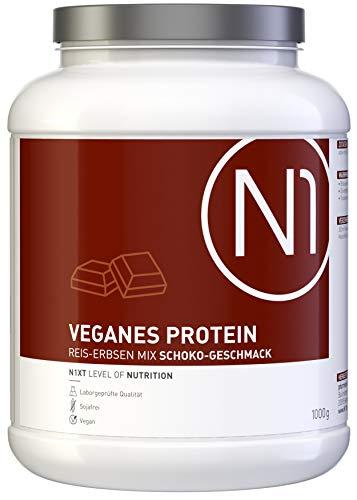 N1 VEGANES PROTEIN Schoko – Kraftvoll und rein pflanzlich – 1 Kg Mix aus Reisprotein und Erbsenprotein, kalorienreduziert – lecker, leicht löslich – Apothekenprodukt ohne unnötige Zusätze