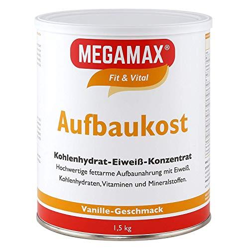 MEGAMAX Aufbaukost Vanille 1.5 kg – Ideal zur Kräftigung und bei Untergewicht – Proteinpulver zur Zubereitung eines fettarmen Kohlenhydrat-Eiweiß-Getränkes für Muskelmasse u. Muskelaufbau