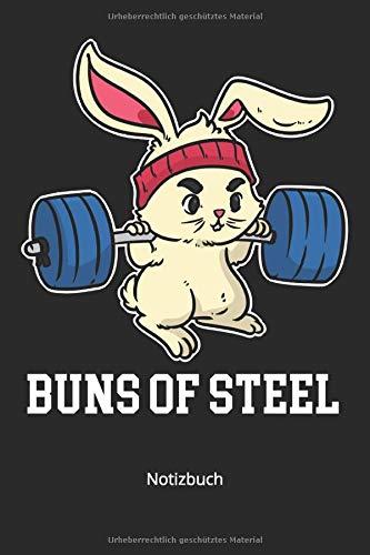 Notizbuch: Buns of Steel Hase mit Hantelstange am trainieren (Liniertes Notizbuch mit 100 Seiten für Eintragungen aller Art)