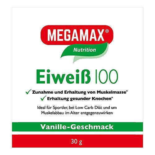 Megamax Eiweiss Vanille 30 g   Molkenprotein + Milcheiweiß Für Muskelaufbau ,Diaet   2k-Eiweiss ideal zum Backen   hochdosiert Low Carb Eiweiß   aspartamfrei Protein mit Aminosäure