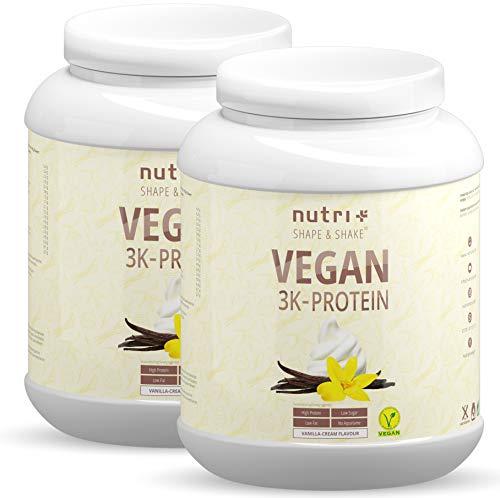 Protein Vegan Vanille 2kg 84,6% Eiweiß – 3k-Proteinpulver – Nutri-Plus Shape & Shake Vanilla Cream Flavor – pflanzliches Eiweißpulver 2000g ohne Lactose & Milcheiweiß
