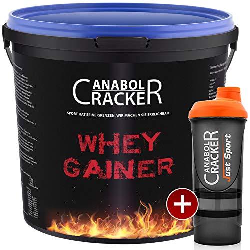 Whey Gainer Protein, 100% reiner Hardgainer, 3000g Eimer, Erdbeer Eiweißpulver + Shaker