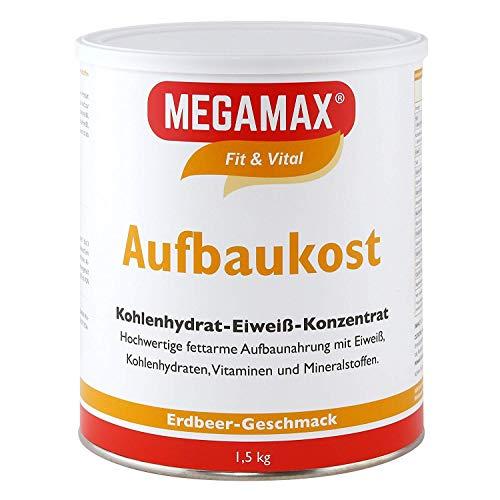 MEGAMAX Aufbaukost Erdbeere 1.5 kg- Ideal zur Kräftigung und bei Untergewicht. Proteinpulver zur Zubereitung eines fettarmen Kohlenhydrat-Eiweiß-Getränkes für Muskelmasse u.Muskelaufbau Gewichtszunahme