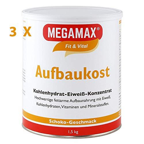 Megamax Aufbaukost Schoko Spar-Set 3×1,5 kg zur Kräftigung und bei Untergewicht