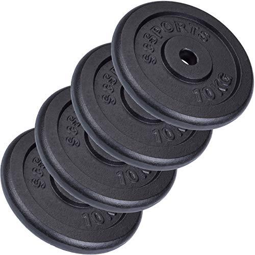 ScSPORTS 40 kg Hantelscheiben-Set 4 x 10 kg Gusseisen Gewichte 30/31 mm Bohrung, durch Intertek geprüft + bestanden¹