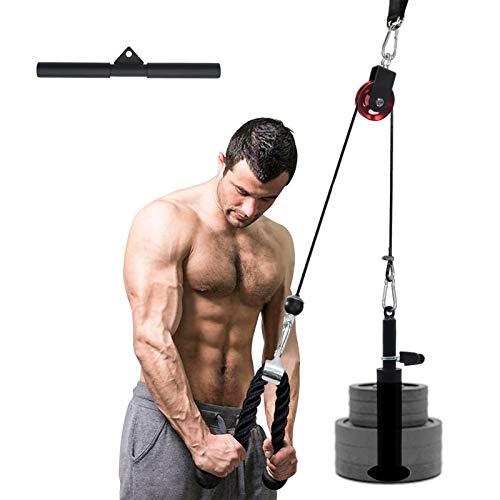 XIAPIA Unterarmtrainer mit Trizepsseil und Stange im Set Latzug Arm Krafttraining Kabelzug Seilzug Fitness Home Gym Workout bis zum 100 KG (Platten Nicht enthalten)