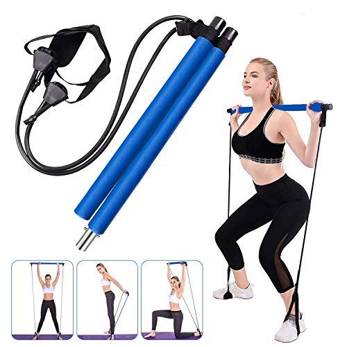 Fitnessübung Pilates Bar Stick tragbare Übung-Stick Gym Pilates Bar Kit mit einstellbaren Widerstandsbänder Home-Gym Training Fitness Bar Resistance Band für Ganzkörpertraining, Dehnübungen, Yoga
